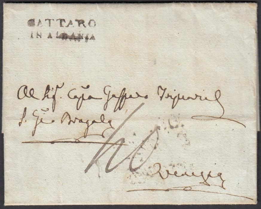 ALBANIA 1820 entire bearing good two-line CATTARO/IN ALBANIA despatch handstamp, arrival backstamp; fine and fresh.