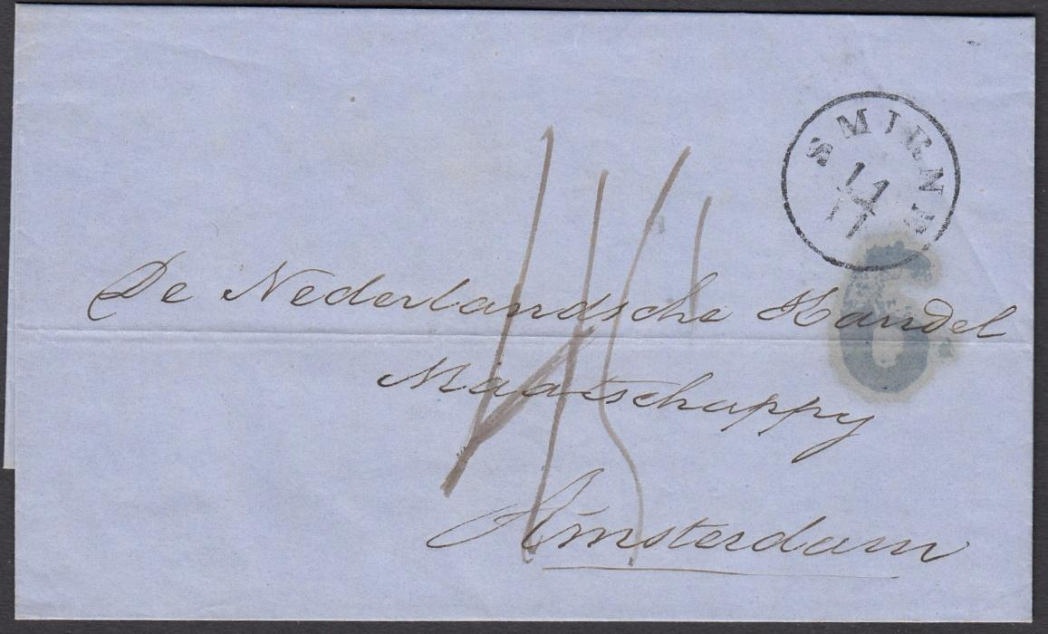 AUSTRIAN LEVANT 1857 and 1864 entires to Amsterdam, each bearing SMIRNE despatch cds and manuscript rate markings, both with accountancy handstamps, the earlier with 7 and the later 6, the earlier entire with LEIPZIG MAGDER TPO, both with red arrivals.
