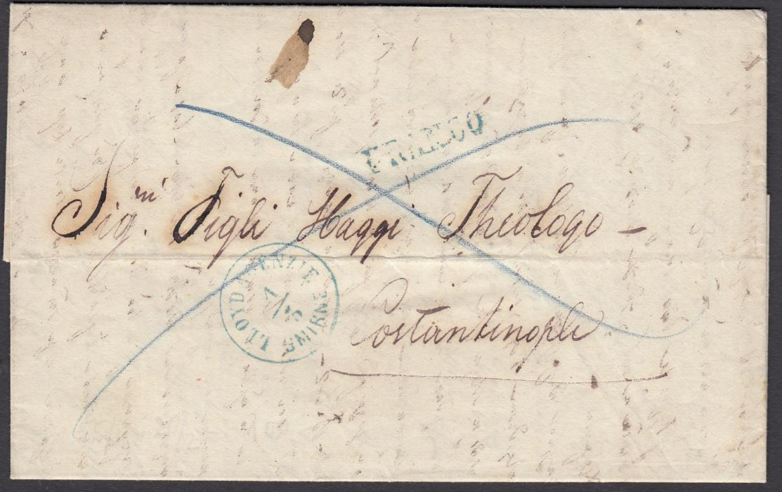 AUSTRIAN LEVANT 1862 entire to Constantinople bearing straight-line FRANCO and LLOYD AGENZIE SMIRNE date stamp in same colour ink, reverse with blue arrival cds.
