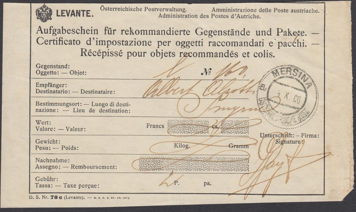 AUSTRIAN LEVANT 1906 Receipt of Registration of letter to Smyrna bearing MERSINA/a OESTERREICHISCHE POST date stamp.