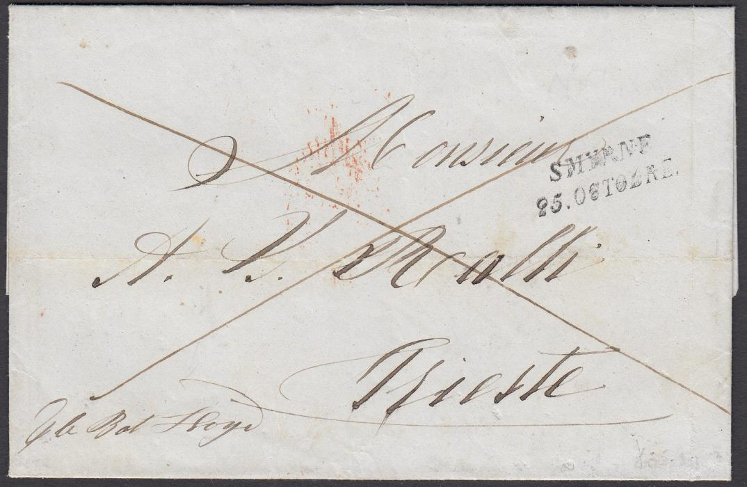 AUSTRIAN LEVANT 1852 entire to Trieste bearing two-line Smyrne handstamp, St Andrews Cross indicating payment to destination, annotated to go via Lloyd Austriaco line.