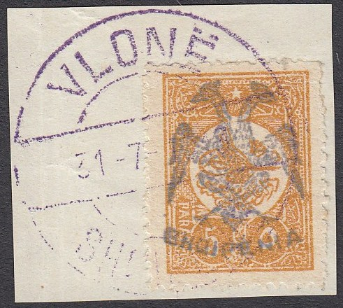 ALBANIA 1913 Double Headed Eagle Overprints, 5pa ochre, on piece, neatly cancelled with full strike of violet VLONE 31.7.1913 cds, signed and cert. Mikulski (Scott 4).
