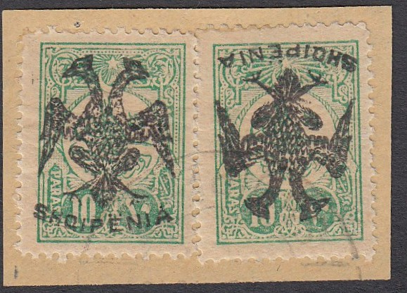 ALBANIA 1913 Double Headed Eagle Overprints, 10pa blue green, 2 copies on piece, one with inverted overprint, signed and cert. Holcombe (Scott 5, 5 var.)