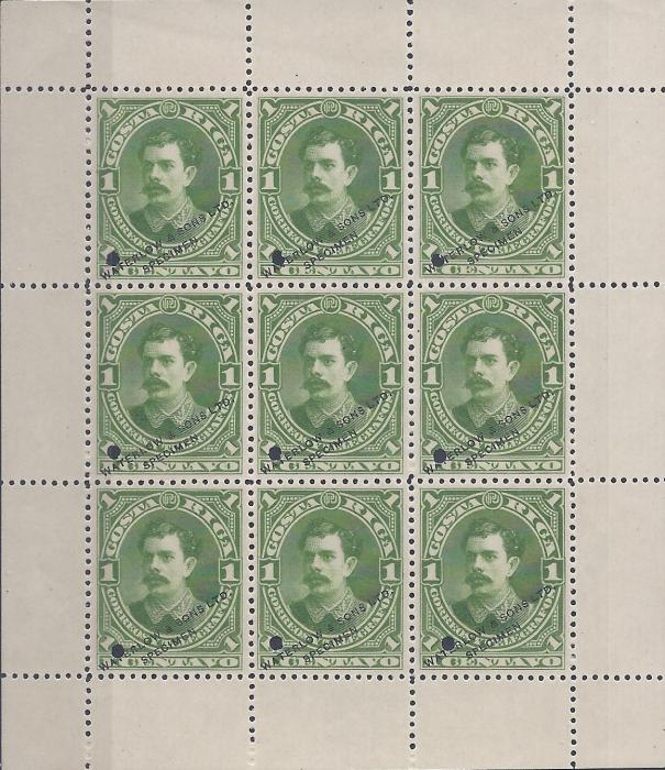 Costa Rica 1889 1c. Pres. Soto in sheetlet of nine, each overprinted Waterlow & Sons Ltd/ Specimen and with small punch hole at bottom left, fresh unused without gum.