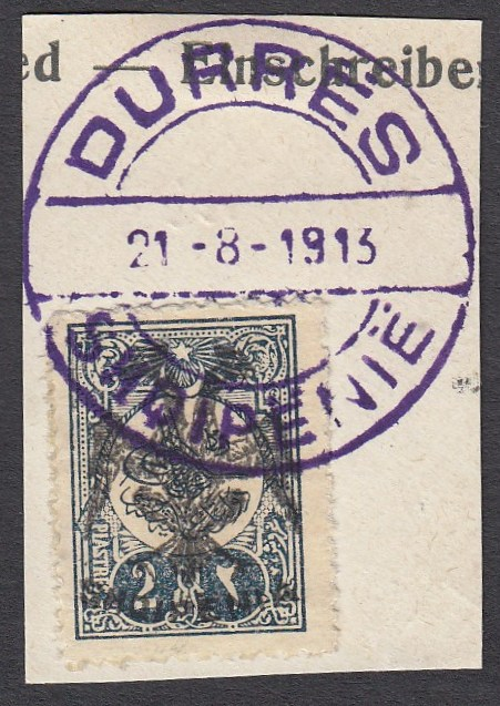 ALBANIA 1913 Double Headed Eagle Overprints, 2pi blue-black, on piece neatly cancelled with full strike of violet DURRES 21.8.1913 cds, signed Dr. Rommerskirchen BPP (Scott 8).