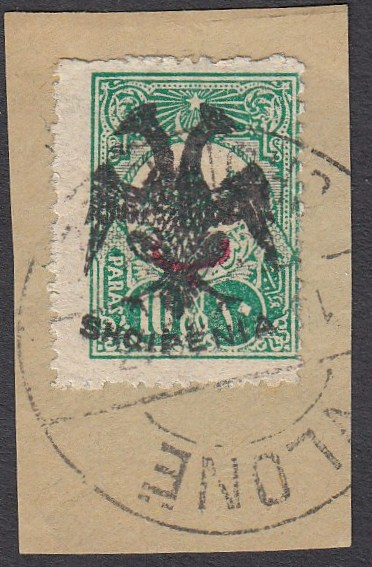 ALBANIA 1913 Double Headed Eagle Overprints, 10pa green with red beyiye overprint, on piece neatly cancelled VLONE, signed and cert. Holcombe (mistakenly stated as Mi.no.A 12). (Scott 2)