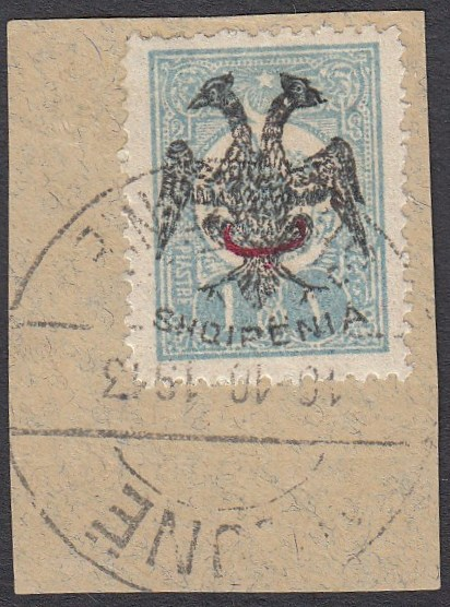 ALBANIA 1913 Double Headed Eagle Overprints, 1pi pale blue with red beyiye overprint, on piece neatly cancelled, signed Dr. Rommerskirchen BPP etc. A rare stamp! (Scott 15).