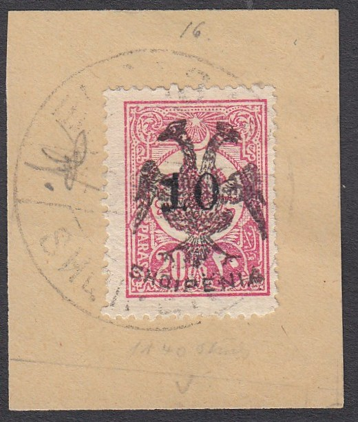ALBANIA 1913 Double Headed Eagle Overprints, 10 on 10pa rose, on piece neatly cancelled by full strike of ELBASAN cds, signed and notice Mikulski. A very scarce stamp! (Scott 19).