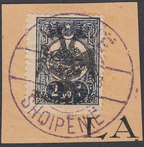 ALBANIA 1913 Double Headed Eagle Overprints, 2pi blue-black, on piece neatly cancelled with full strike of VLONE cds, signed Dr. Rommerskirchen BPP (Scott 8).