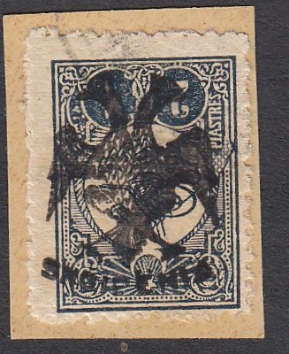 ALBANIA 1913 Double Headed Eagle Overprints, 2pi blue-black with inverted overprint, on piece neatly cancelled, cert. Holcombe. (Scott 8 var.)