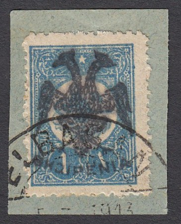 ALBANIA 1913 Double Headed Eagle Overprints, 1 pi blue, plate 1, on piece neatly cancelled, signed cert. Holcombe, rare! (Scott 7 sub-type)