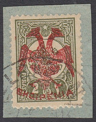 ALBANIA 1913 Double Headed Eagle Overprints, 2 pa olive green with red overprint, on piece neatly cancelled, signed and cert. Holcombe. (Scott 17 var.).