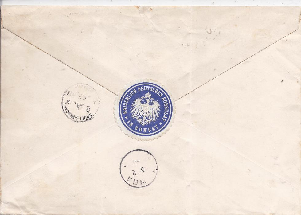 India circa 1900 cover from Bombay to Regional Judge at Tanga, German East Africa franked 2a. violet and three 2�a blue cancelled Apollo Bandar cds with registration handstamp to left, reverse with blue scallop seal of German Consulate and arrival cds; vertical filing crease clear of stamps.