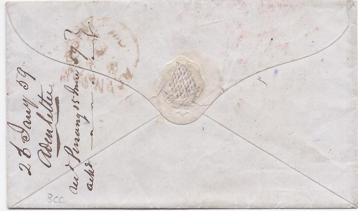 "Aden 1859 cover to ""Passenger Overland/ Post Office. Aden"", red Boston Paid cds, carried by British Packet at 39c rate on cunard ""Niagura"". At top manuscript endorsement ""N J Kindman's complis/ Aden May 23rd 1859"" for forwarding out of mails to Penang, a manuscript arrival endorsement on reverse."