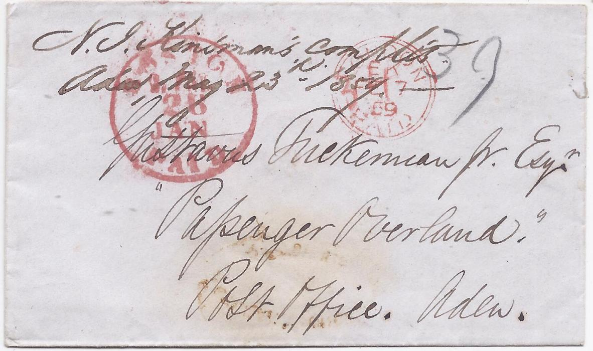 Aden 1859 cover to �Passenger Overland/ Post Office. Aden�, red Boston Paid cds, carried by British Packet at 39c rate on cunard �Niagura�. At top manuscript endorsement �N J Kindman�s complis/ Aden May 23rd 1859� for forwarding out of mails to Penang, a manuscript arrival endorsement on reverse.
