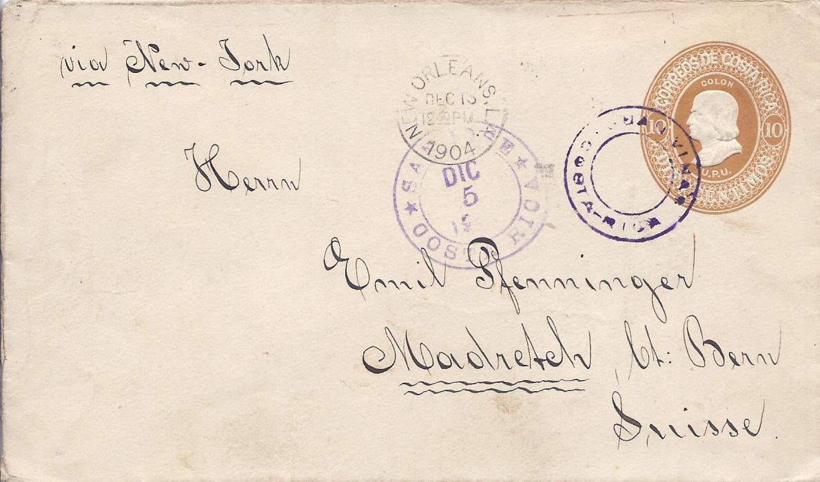 Costa Rica 1904 10c. postal stationery envelope to Magretsch, Switzerland with double-ring Juan Vinas handstamp, San Jose transit and New Orleans transit to left, arrival backstamp.