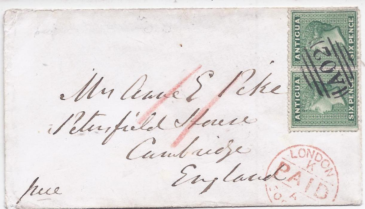 Antigua 1867 (DE 12) cover to Cambridge franked horizontal pair 6d. green cancelled by very fine 'A02' obliterator, London transit below, reverse with dispatch cds and arrival cancel of DE 30; fine and attractive.