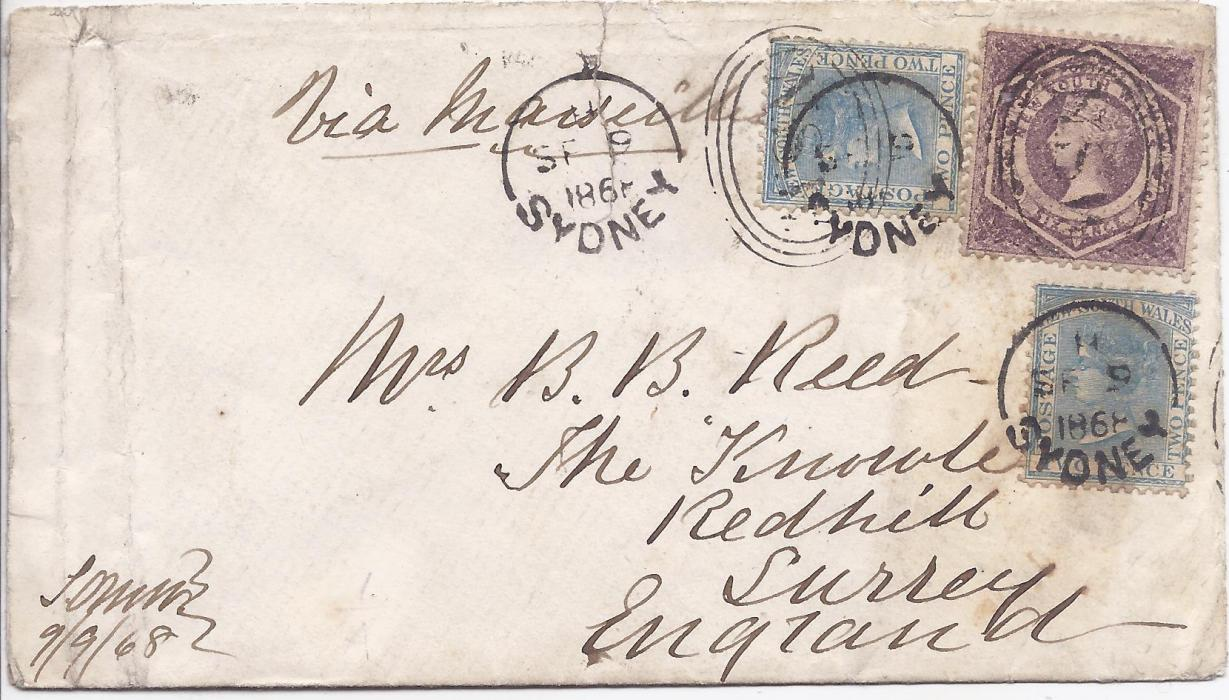Australia (New South Wales) 1868 cover to England franked 2d. (2) and 6d., the tqo stamps at top cancelled by oval framed NSW handstamps and the 2d. stamps additionally by Sydney cds, Redhill arrival backstamp. Some slight faults to the envelope.