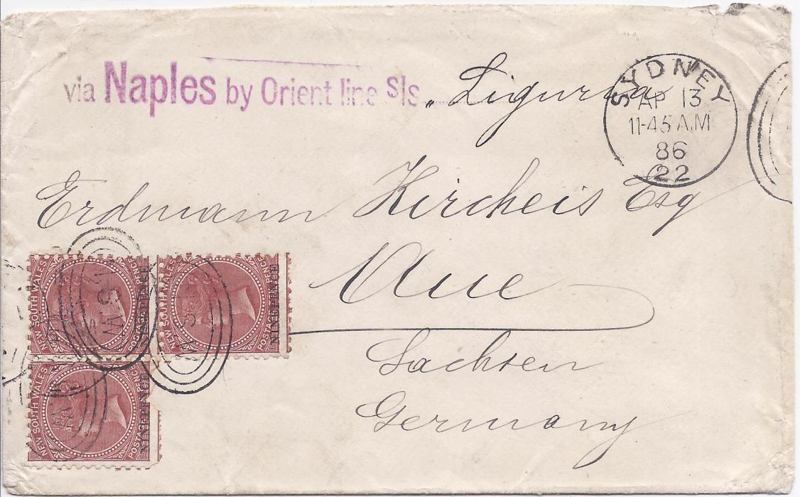 Australia (New South Wales) 1886 cover to Germany franked irregular block of three 'Nine Pence' on 10d., perf 11,  cancelled NSW Sydney duplexes, arrival backstamp. Envelope with handstamped endorsement 'via Naples by Orient Line S/S'. Stamp at left with fault at base.