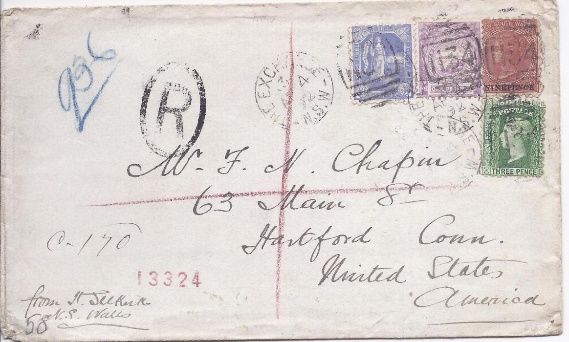 Australia (New South Wales) 1892 registered cover to Hartford, Conn., USA franked 1d., 2 1/2d., 3d. and 9d. on 10d. tied The Exchange 134 numeral duple, reverse with Sydney transit and arrival cds.