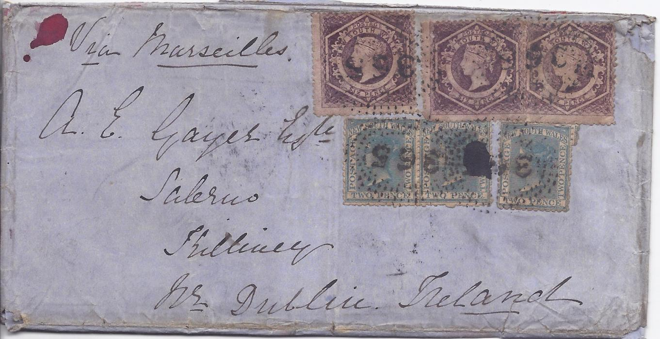Australia (New South Wales) 1863 large outer letter sheet to Dublin, Ireland franked three 2d. and three 6d. with '365' numeral cancels, reverse with Jerilderie despatch, Sydney transit, Kingstown arrival.