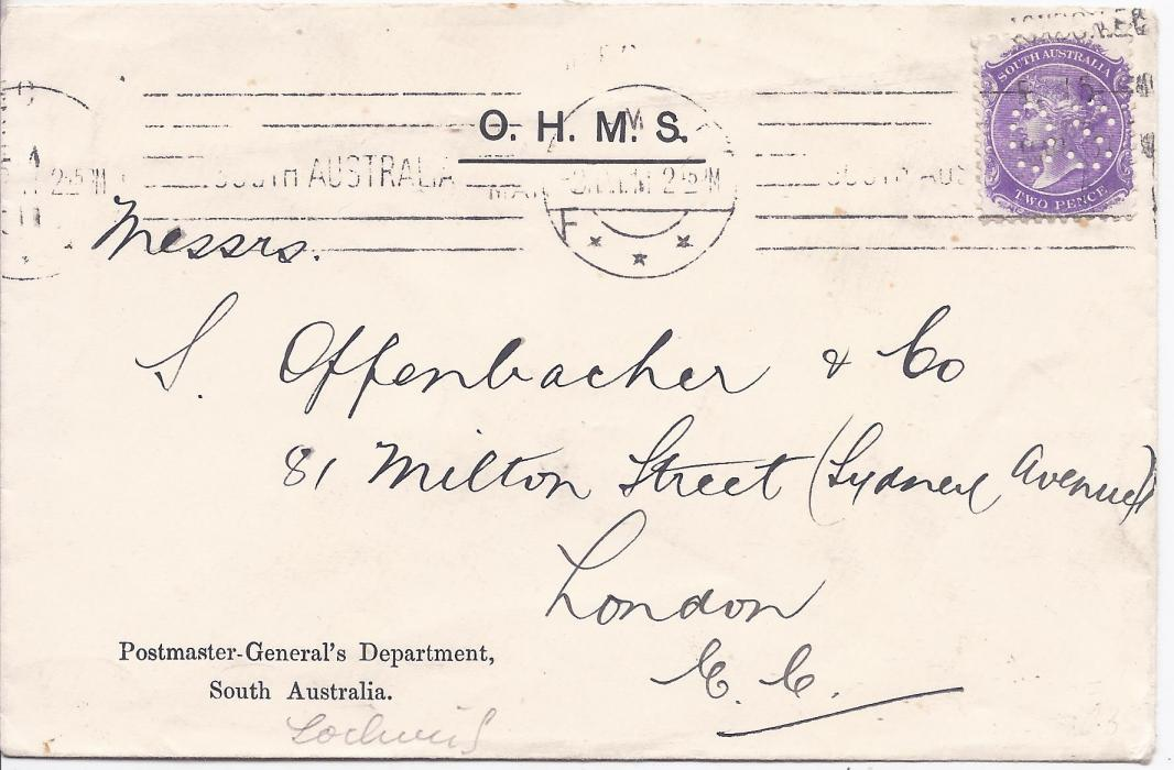 Australia (South) Unclearly dated O.H.M.S. cover from Postmaster General's Department to London franked 2d. mauve with O.S. perfin