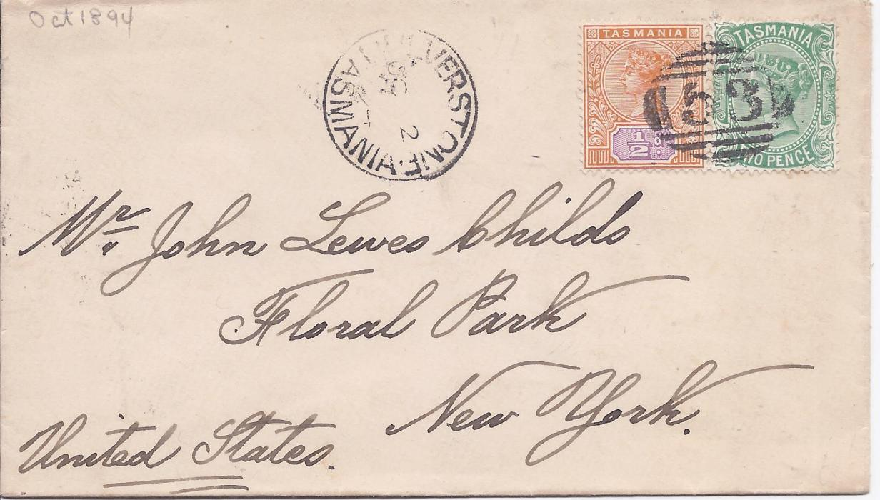 Australia (Tasmania) 1894 cover to New York franked ½d. and 2d. tied '53' numeral cancel with Ulverstone cds to left, reverse with Launceston transit and New York arrivals.