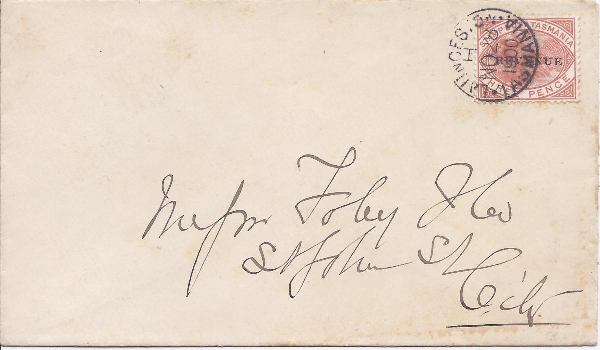 Australia (Tasmania) 1900 (NO 28) cover franked 'REVENUE' overprinted 3d. Duck-billed Platypus tied Launceston cds; small part of backflap missing.