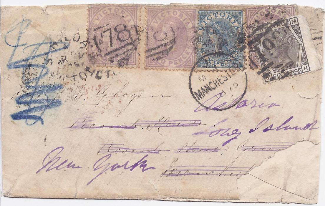 Australia  (Victoria) 1875 cover from St Kilda to Manchester franked three 2d and a 6d. tied numeral duplex cancels, on arrival at Manchester envelope re-directed to New York and additionally franked 6d. gray, plate 14 tied Manchester duplex; small part of backflap missing resulting in only small part of arrival cancel surviving, bottom right front corner missing and opened out for display.