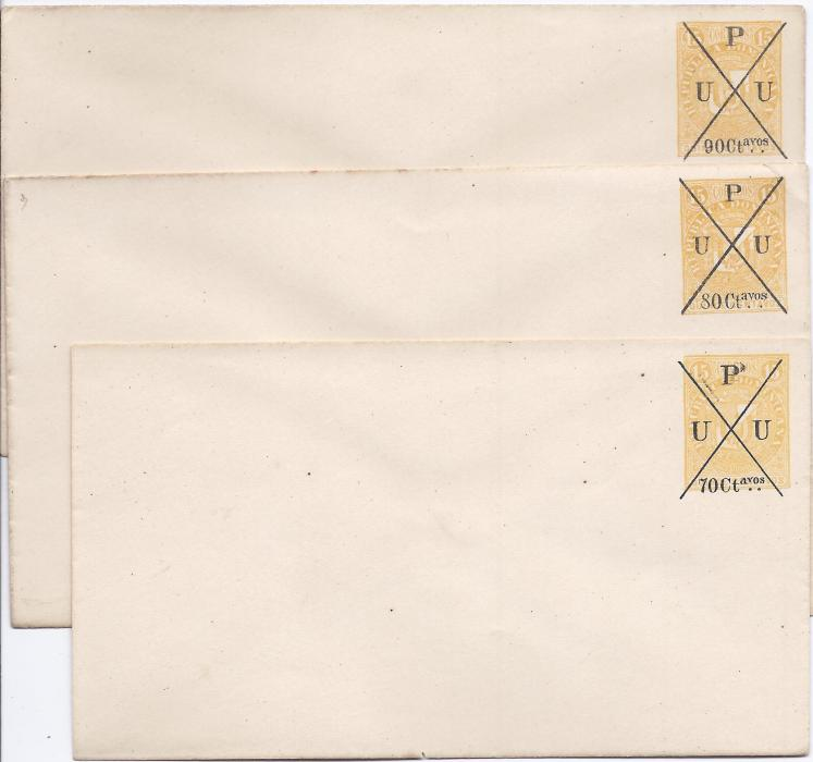 Dominican Republic 1890s accumulation of nine different postal stationery surcharge envelopes, fine unused.