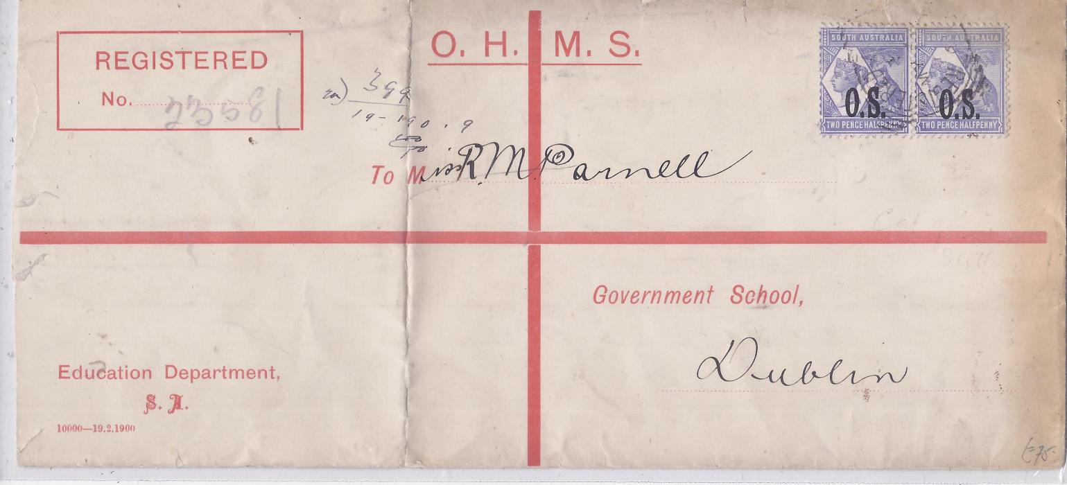 Australia  (South) 1890s OHMS formula registration envelope from Education Department additionally franked pair O.S. overprinted 2½d. cancelled by single unclear square circle; vertical filing crease at left.