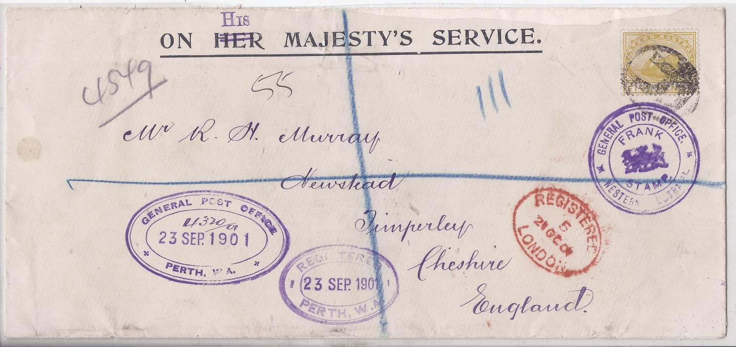 Australia (Western) 1901 OHMS registered cover Perth to England franked with 5d Swan tied 'R' handstamp, various violet Officil handstamps and London transit, arrival backstamp. The stamp used was not necessary. The envelope has had the 'HER' replaced by handstamped 'HIS' at top.