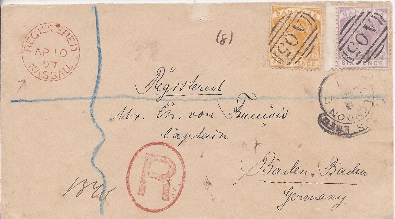 Bahamas 1897 registered cover to Germany franked 4d. and 6d. tied cancelled by fine �A05� obliterator, red framed �R� handstamp with Registered Nassau cds top left, London transit at right and Baden Baden arrival backstamp.