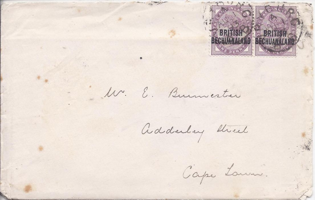 Bechuanaland 1893 cover to Cape Town franked Great Britain overprinted 1d. lilac pair tied Vryburg cds, arrival backstamp; some tone spotting.