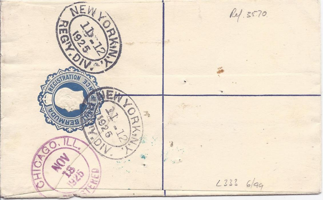 Bermuda 1925 3d. stationery registration envelope to Chicago additionally franked 2�d. tied unclear double ring cds, Harrington Sound registration label to left, New York transits and arrival backstamps.