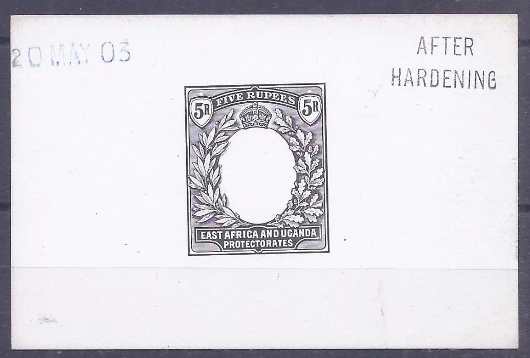British East Africa 1903-04 5r De La Rue proof in black on galzed card, 92  60mm, AFTER HARDENING and date handstamps