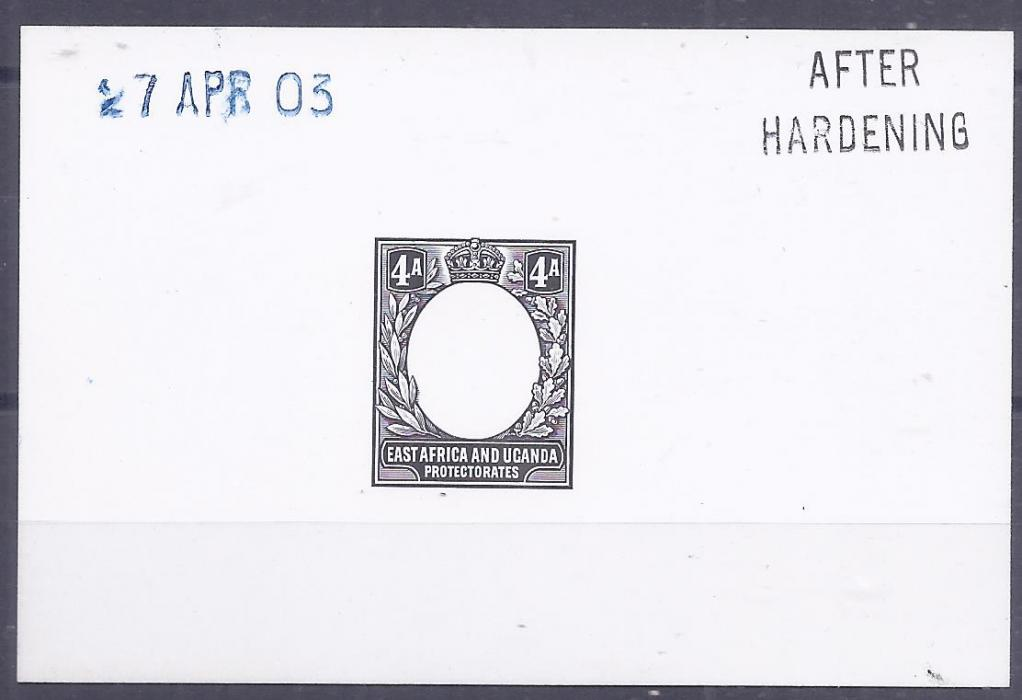 British East Africa 1903 4a. De La Rue die proof on card, After Hardening and dated handstamps, fine