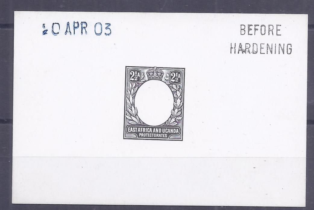 British East Africa 1903 2 1/2a. De La Rue die proof on card, Before Hardening and date handstamps, fine