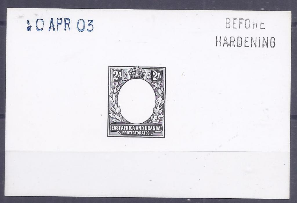 British East Africa 1903 2a. De La Rue die proof on card, Before Hardening and date handstamps, fine