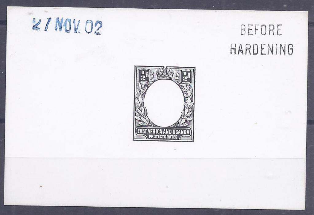 British East Africa 1902 1/2a. De La Rue die proof on card, Before Hardening and date handstamps, fine