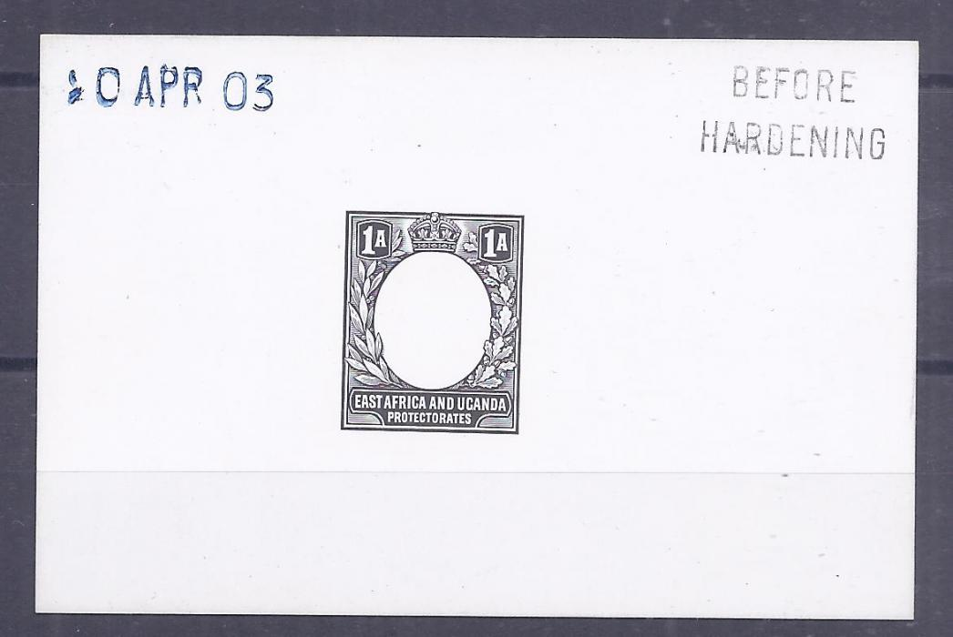 British East Africa 1903 1a. De La Rue die proof on card, Before Hardening and date handstamps, fine