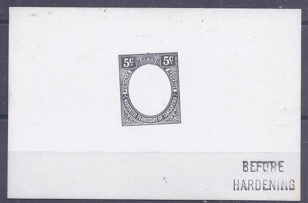 Tanganiyka 1927 5c De La Rue frame die proof in black on glazed card, Before Hardening handstamp, fine