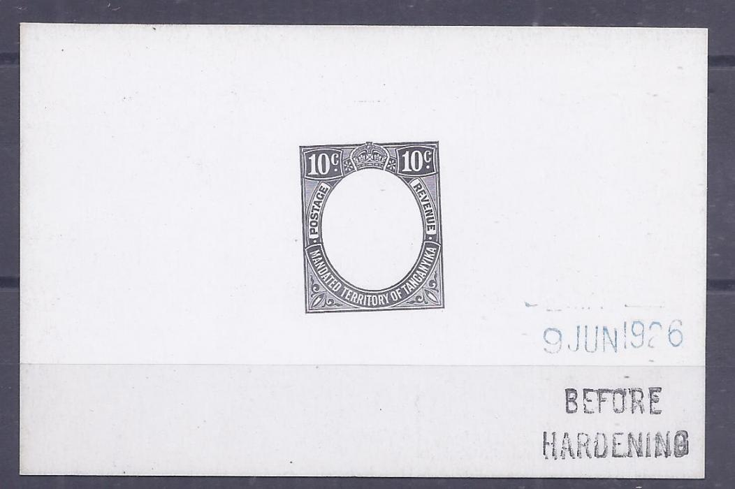 Tanganiyka 1927 10c De La Rue frame die proof in black on glazed card, Before Hardening and date handstamp, fine