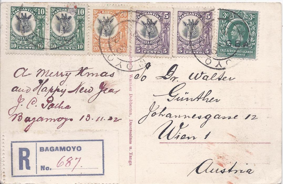 Tanganiyka 1922 registered picture postcard to Austria franked G.E.A. 3c. and Giraffe 5c. (2), 10c. (2) and 20c. tied Bagamoyo cds; fine condition.