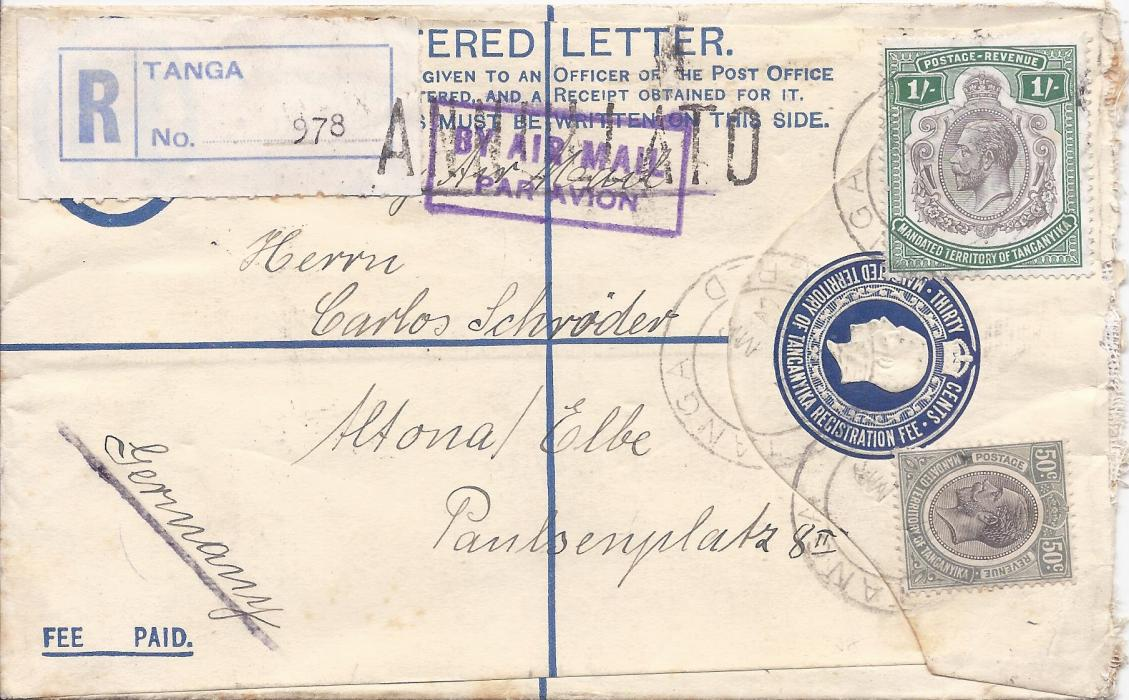 Tanganiyka 1933 30c. postal stationery registration envelope uprated 50c. and 1/- and sent airmail to Germany from Tanga, airmail handstamp at top has been handstamped �ANNULATO� at Brindisi on transit, reverse with Moshi transit, Brindisi transit and Italian t.p.o. and Altona  arrival cds.