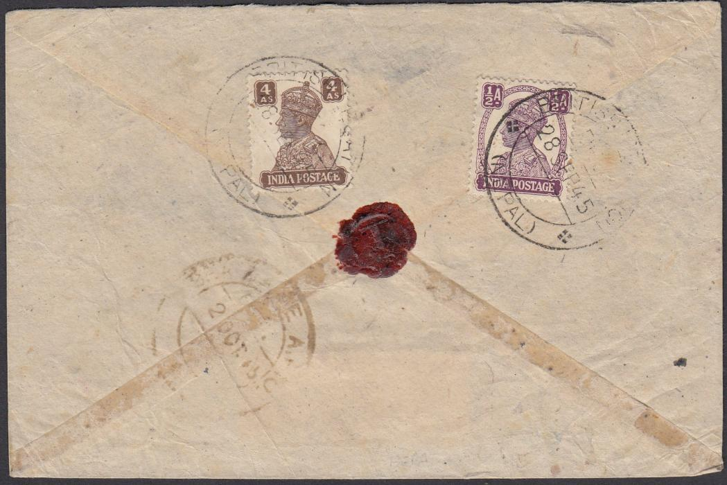 "NEPAL 1945 registered envelope to Swindon franked �a. + 4a. tied by ""BRITISH LEGATION/(NEPAL)"" date stamp."