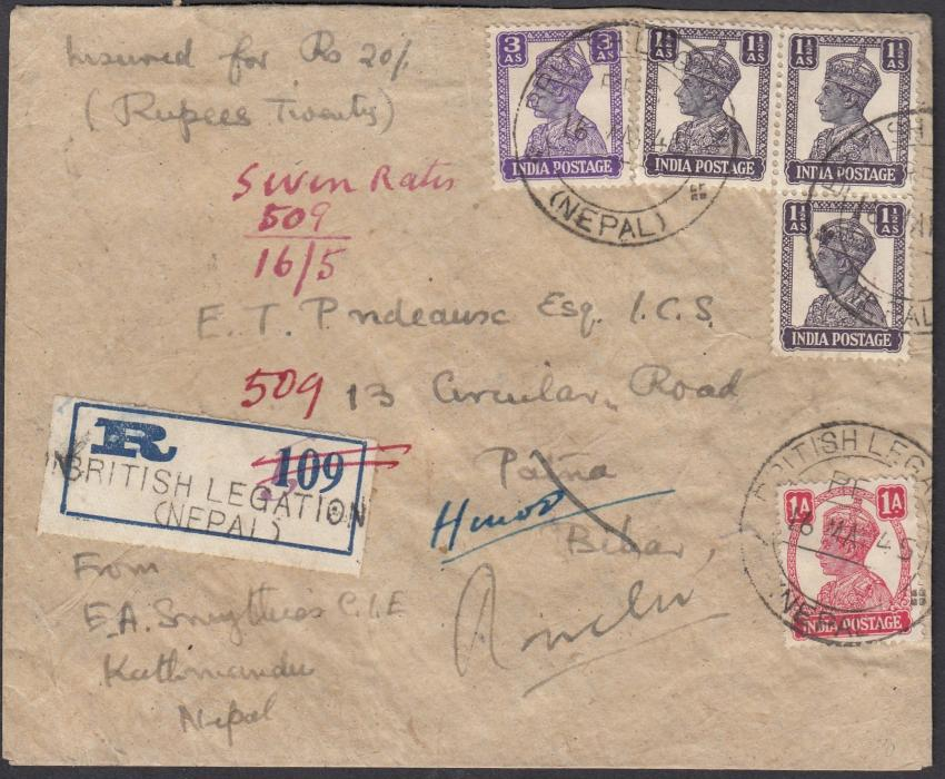 "INDIA (Post Offices in Nepal) 1945 insured registered cover to Patna franked 1a., 1�a (3) & 3a. tied ""BRITISH LEGATION/(NEPAL)"" cds, handstamped registration label with amended number, re-directed on arrival."