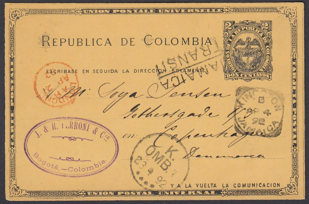 "JAMAICA 1892 2c postal stationery card of Colombia sent from Bogota to Denmark and bearing squared-circle ""KINGSTON/JAMAICA"" date stamp and two line ""JAMAICA/TRANSIT""."