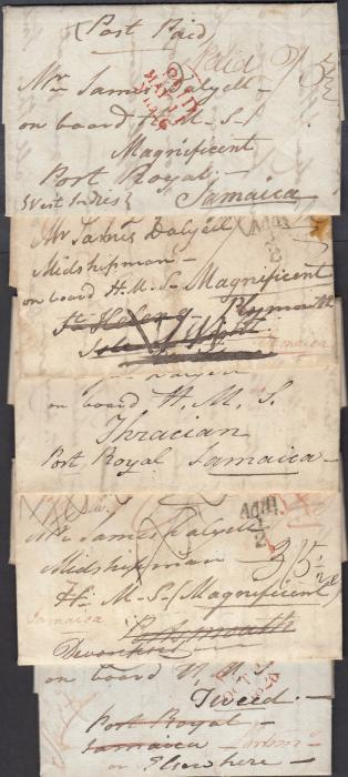 "JAMAICA 1824-1827 series of five entires from Scotland to a Midshipman, later Lieutenant, on board either H.M.S. Thracian, H.M.S. Magnificent or H.M.S. Tweed in Port Royal, Jamaica. Various rate markings and inscriptions including ""Ship gone home""; re-addressed back to Portsmouth. A fascinating group."