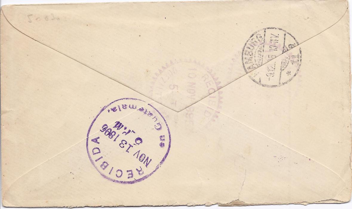 "Guatemala 1895 10c. posthorn stationery envelope to Hamburg, Germany, endorsed ""Via Livingston New Orleans Queenstown"" cancelled by fancy violet cork with San Marcos despatch date stamp below, Guatemalan transits and arrival cds on reverse."